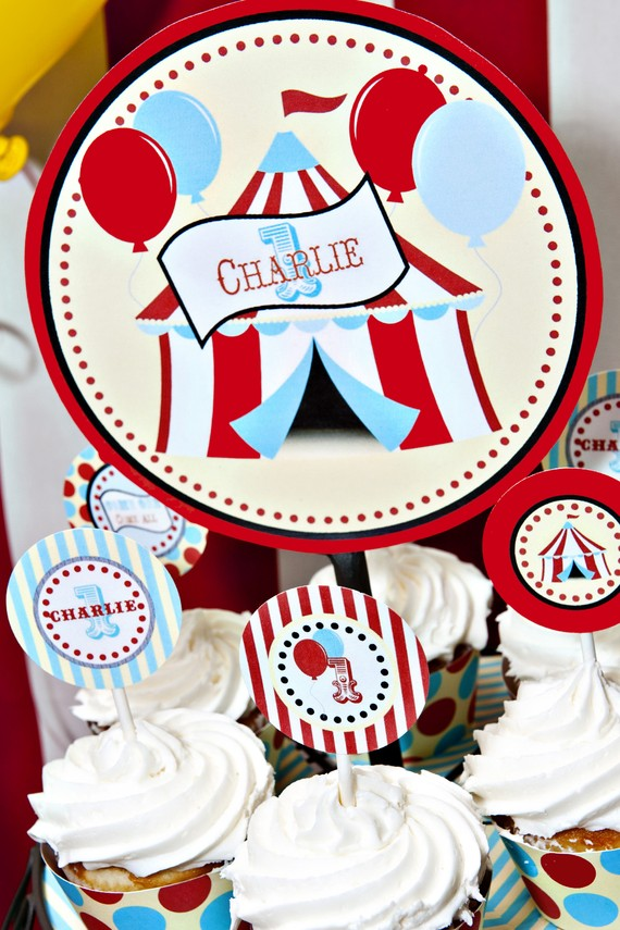 Circus Theme Birthday Cake Topper