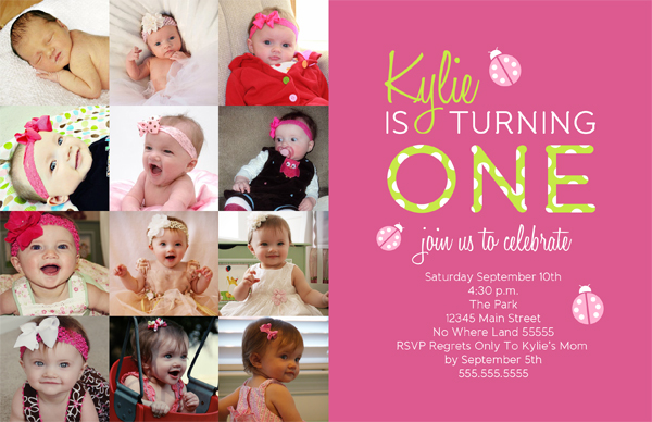Kylie Ladybug First Birthday Invitation