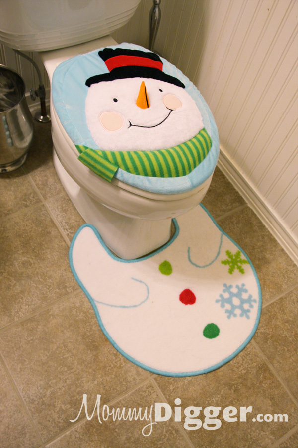 Snowman Bathroom Contoured Rug and Seat Topper for the Holidays