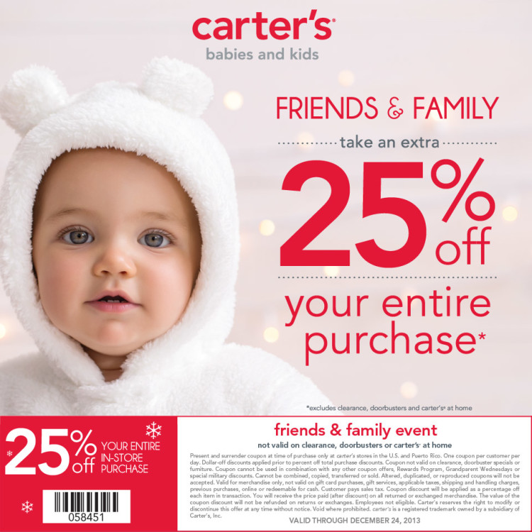 Carters Friends Family Coupon